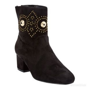 Embellished Faux Suede Booties